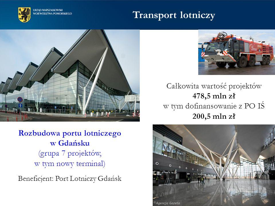 Rozbudowa portu lotniczego w Gdańsku (grupa 7 projektów, w tym nowy terminal) Beneficjent: Port Lotniczy Gdańsk Całkowita wartość projektów 478,5 mln