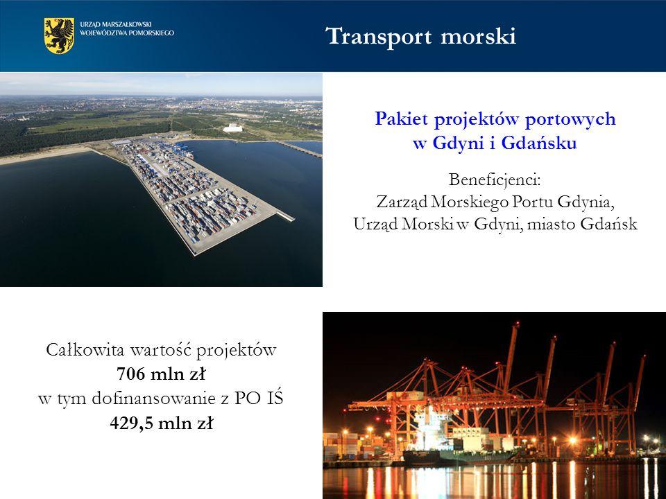 Pakiet projektów portowych w Gdyni i Gdańsku Beneficjenci: Zarząd Morskiego Portu Gdynia, Urząd Morski w Gdyni, miasto Gdańsk Całkowita wartość projektów 706 mln zł w tym dofinansowanie z PO IŚ 429,5 mln zł Transport morski