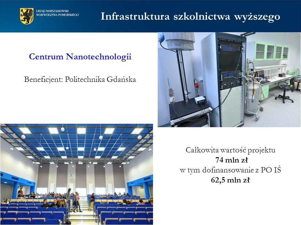 Centrum Nanotechnologii Beneficjent: Politechnika Gdańska Całkowita wartość projektu 74 mln zł w tym dofinansowanie z PO IŚ 62,5 mln zł Infrastruktura szkolnictwa wyższego