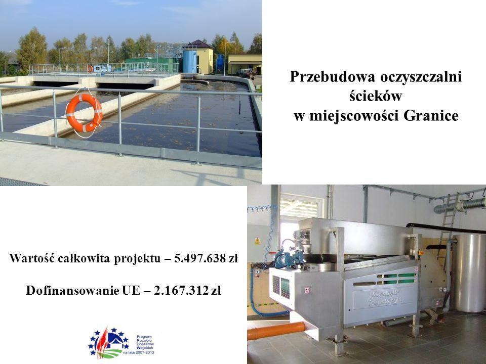 Wartość całkowita projektu – 5.497.638 zł Dofinansowanie UE – 2.167.312 zł Przebudowa oczyszczalni ścieków w miejscowości Granice