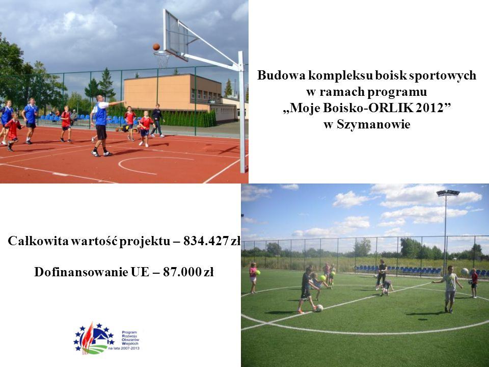 """Całkowita wartość projektu – 834.427 zł Dofinansowanie UE – 87.000 zł Budowa kompleksu boisk sportowych w ramach programu """"Moje Boisko-ORLIK 2012 w Szymanowie"""