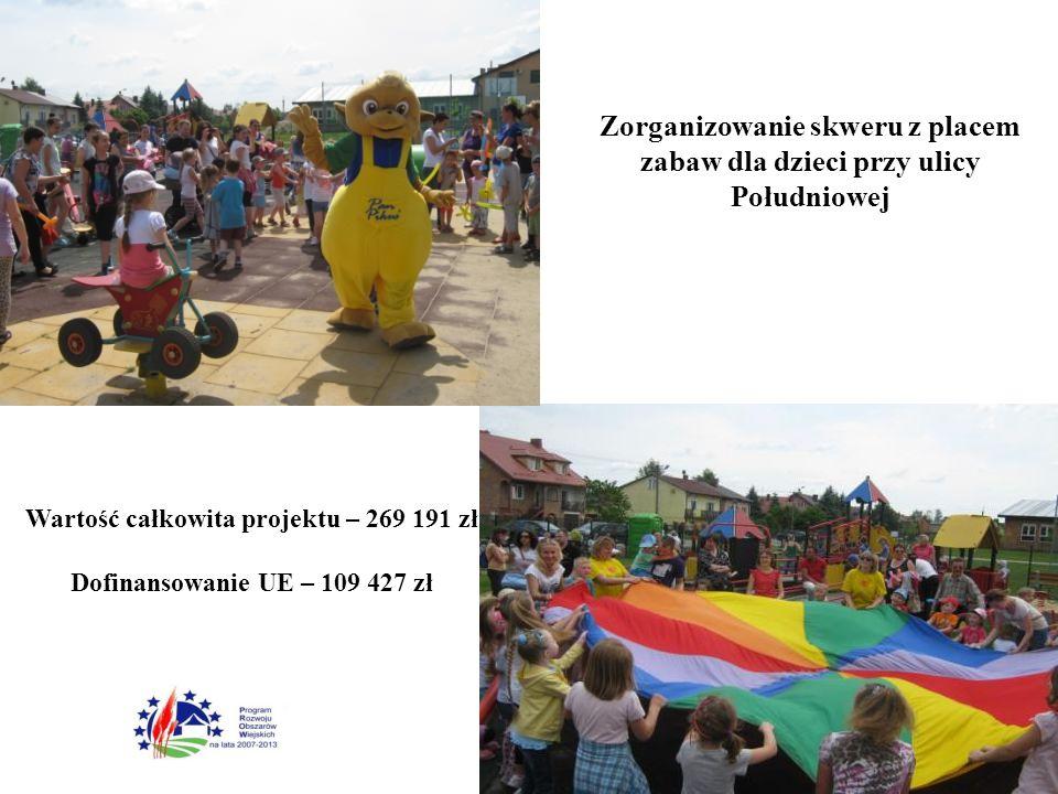 Zorganizowanie skweru z placem zabaw dla dzieci przy ulicy Południowej Wartość całkowita projektu – 269 191 zł Dofinansowanie UE – 109 427 zł