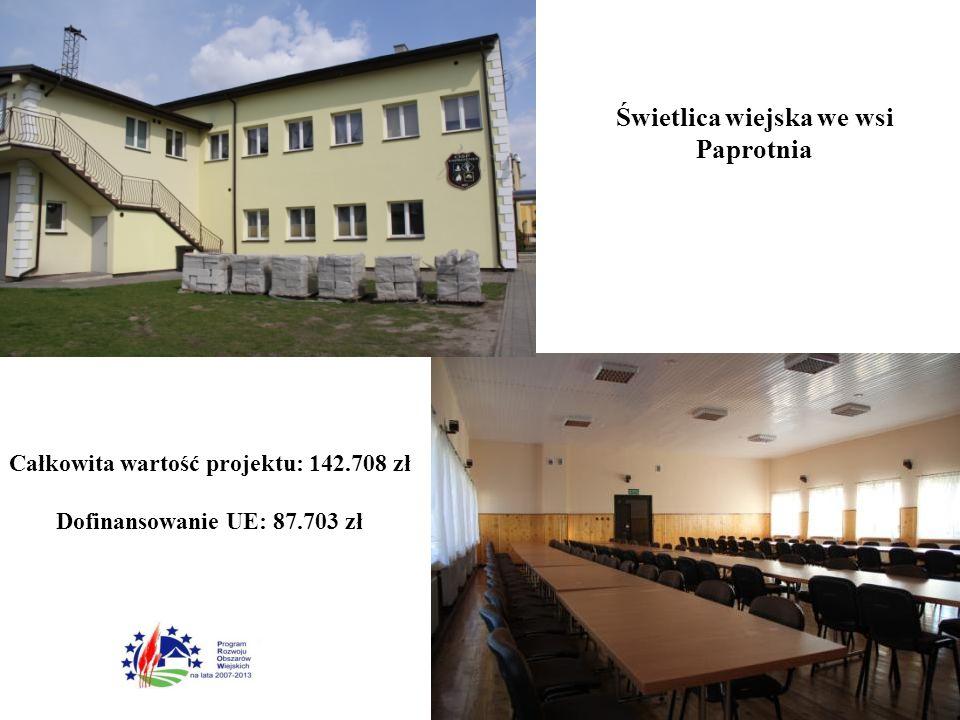 Całkowita wartość projektu: 142.708 zł Dofinansowanie UE: 87.703 zł Świetlica wiejska we wsi Paprotnia