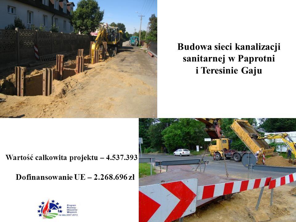 Budowa sieci kanalizacji sanitarnej w Paprotni i Teresinie Gaju Wartość całkowita projektu – 4.537.393 zł Dofinansowanie UE – 2.268.696 zł