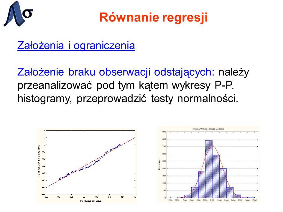 Równanie regresji Założenia i ograniczenia Założenie braku obserwacji odstających: należy przeanalizować pod tym kątem wykresy P-P. histogramy, przepr