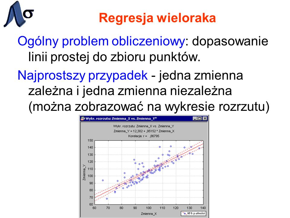 Ogólny problem obliczeniowy: dopasowanie linii prostej do zbioru punktów. Najprostszy przypadek - jedna zmienna zależna i jedna zmienna niezależna (mo