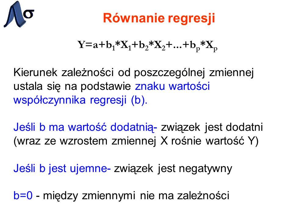 Równanie regresji Wartości przewidywane a wartości resztowe Linia regresji wyraża najlepszą predykcję zmiennej zależnej (Y) przy danych zmiennych niezależnych (X).