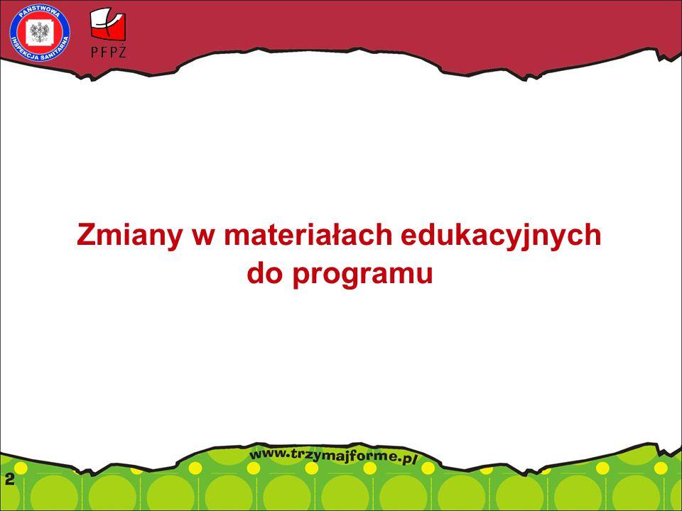 """Zmiany w materiałach edukacyjnych """"Trzymaj Formę! do IX edycji Programu 1.Aktualizacja materiałów przeznaczonych dla uczniów pod względem językowym (broszurka oraz strona internetowa – zakładka dla uczniów); 2.Nowe scenariusze zajęć realizowanych metodą projektu (do pobrania w formie elektronicznej na www.trzymajforme.pl) 20 scenariuszy zajęć projekty: badawcze, edukacyjne, medialne, społeczne; dostosowane do realizacji w czasie od 4 do 9 godz."""