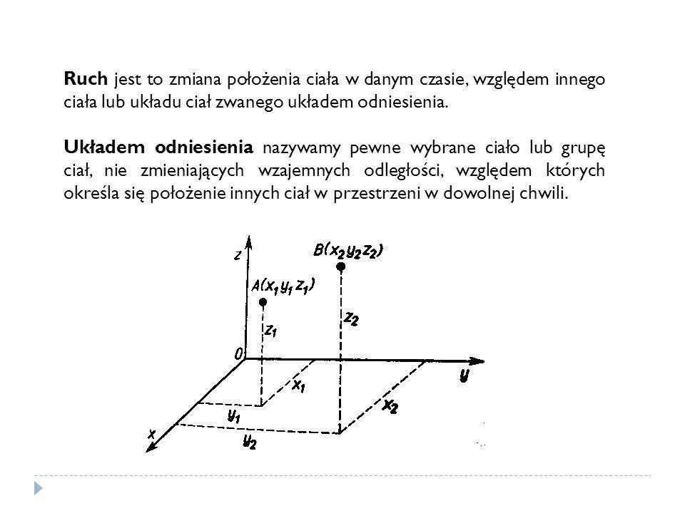Położenie ciała opisujemy przez podanie współrzędnych (x, y, z), dlatego z układem odniesienia wiążemy układ współrzędnych (X, Y, Z).