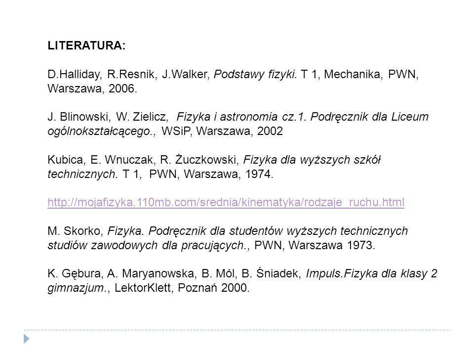 LITERATURA: D.Halliday, R.Resnik, J.Walker, Podstawy fizyki. T 1, Mechanika, PWN, Warszawa, 2006. J. Blinowski, W. Zielicz, Fizyka i astronomia cz.1.