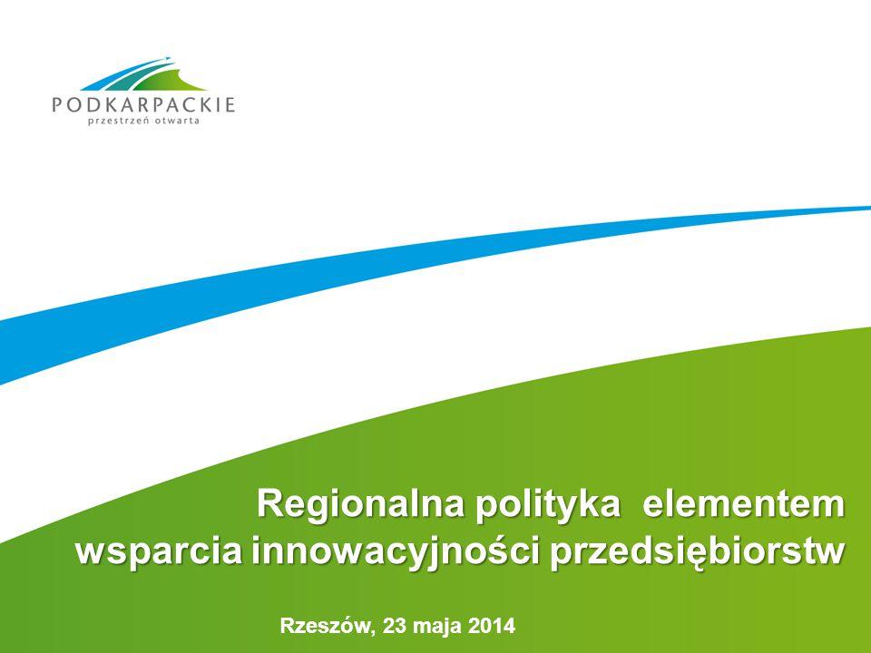 Rzeszów, 23 maja 2014 Regionalna polityka elementem wsparcia innowacyjności przedsiębiorstw