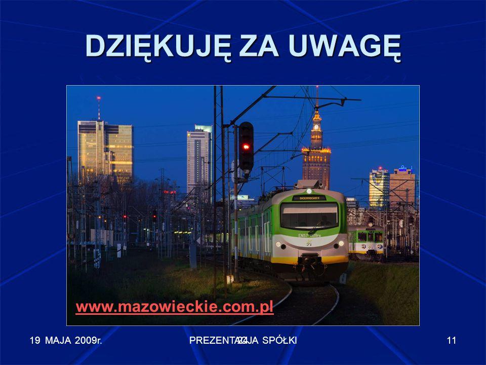 19 MAJA 2009r.PREZENTACJA SPÓŁKI11 DZIĘKUJĘ ZA UWAGĘ 24 www.mazowieckie.com.pl