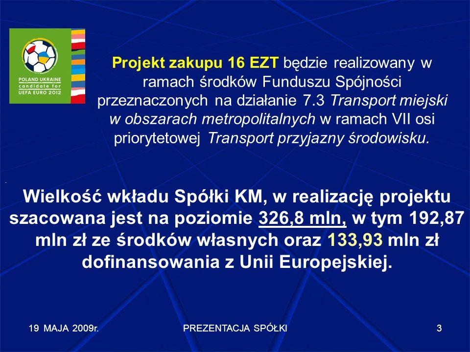 19 MAJA 2009r.PREZENTACJA SPÓŁKI3 Projekt zakupu 16 EZT będzie realizowany w ramach środków Funduszu Spójności przeznaczonych na działanie 7.3 Transpo