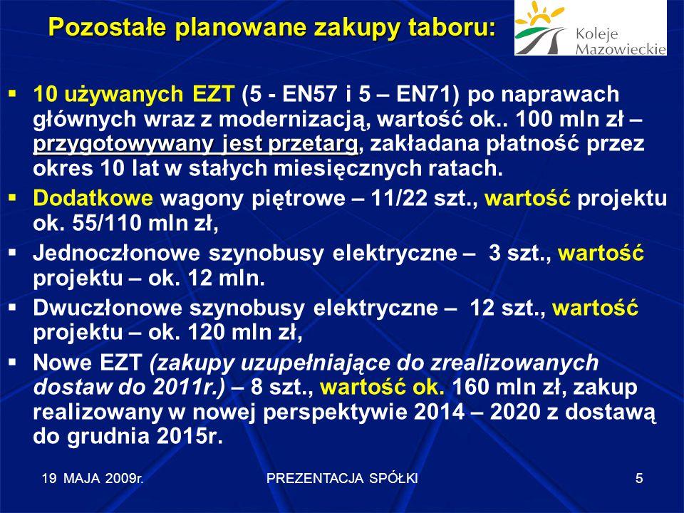 """19 MAJA 2009r.PREZENTACJA SPÓŁKI6 Spółka """"Koleje Mazowieckie jest zobowiązana zabezpieczyć wkład własny niezbędny do realizacji projektów kluczowych z RPO WM: - zakupu 16 EZT w projekcie """"lotniskowym , - zakupu lokomotyw, - modernizacji taboru."""