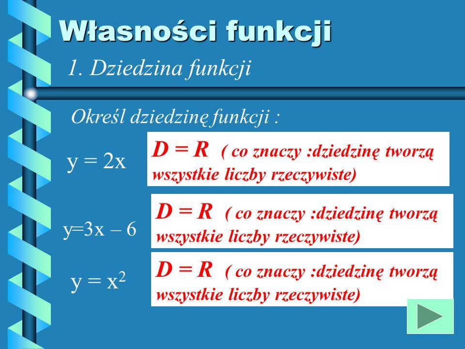 cd... Uzupełnij zapisy : Elementy dziedziny to : argumenty Każdemu argumentowi odpowiada dokładnie jedna: wartość funkcji Wykres funkcji to : Zbiór pu