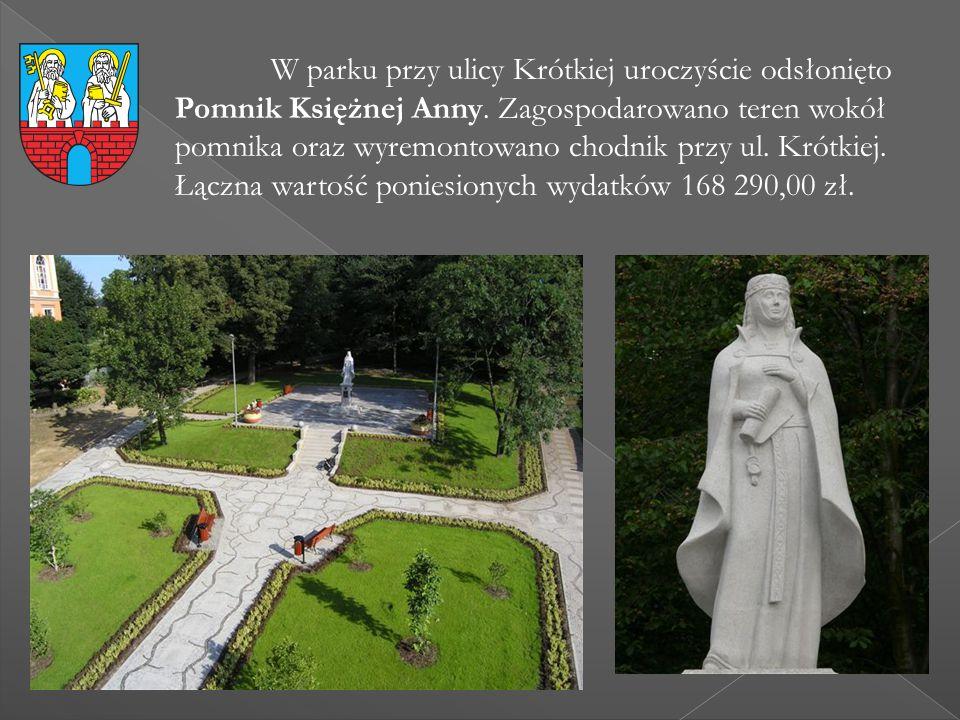 W parku przy ulicy Krótkiej uroczyście odsłonięto Pomnik Księżnej Anny. Zagospodarowano teren wokół pomnika oraz wyremontowano chodnik przy ul. Krótki