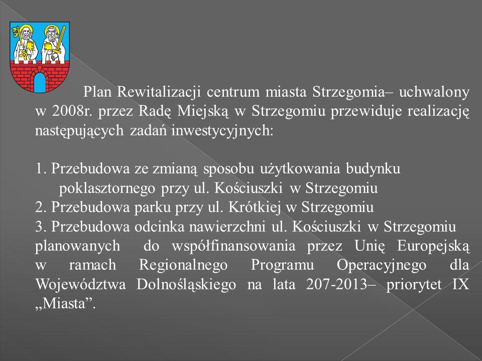 Plan Rewitalizacji centrum miasta Strzegomia– uchwalony w 2008r. przez Radę Miejską w Strzegomiu przewiduje realizację następujących zadań inwestycyjn