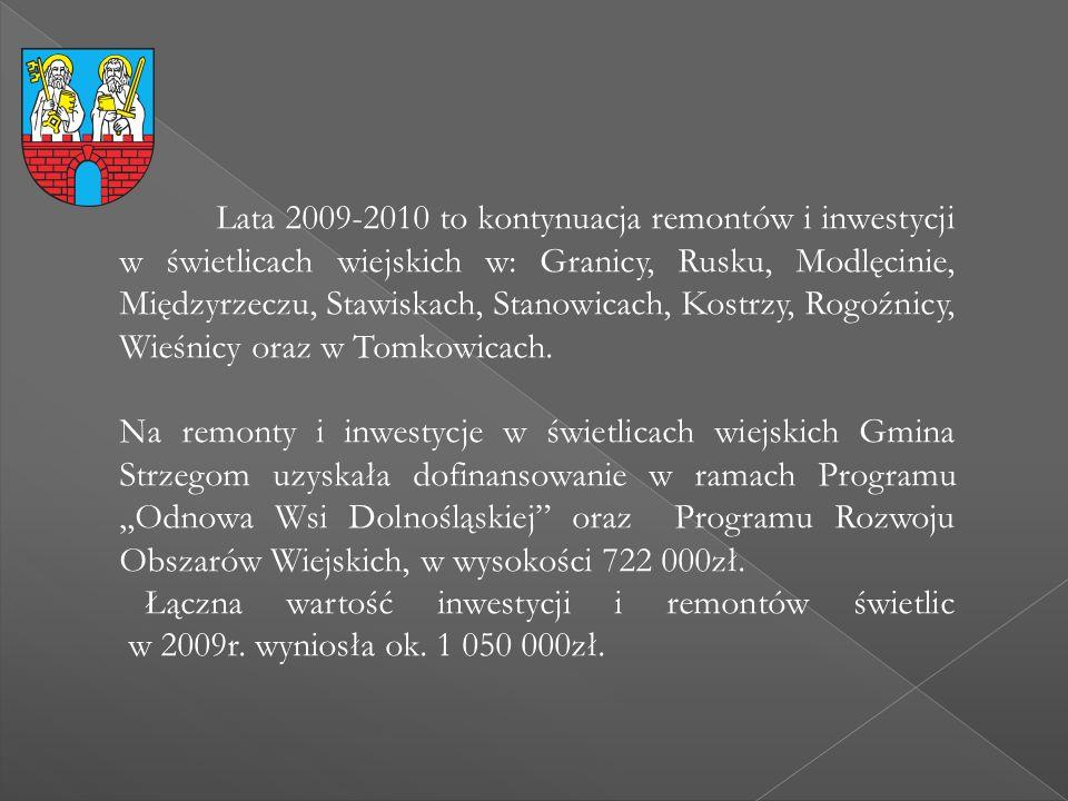 Lata 2009-2010 to kontynuacja remontów i inwestycji w świetlicach wiejskich w: Granicy, Rusku, Modlęcinie, Międzyrzeczu, Stawiskach, Stanowicach, Kost