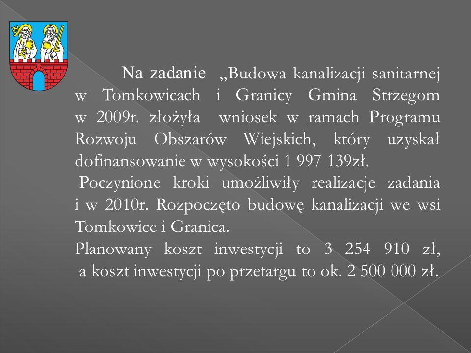 """Na zadanie """"Budowa kanalizacji sanitarnej w Tomkowicach i Granicy Gmina Strzegom w 2009r. złożyła wniosek w ramach Programu Rozwoju Obszarów Wiejskich"""