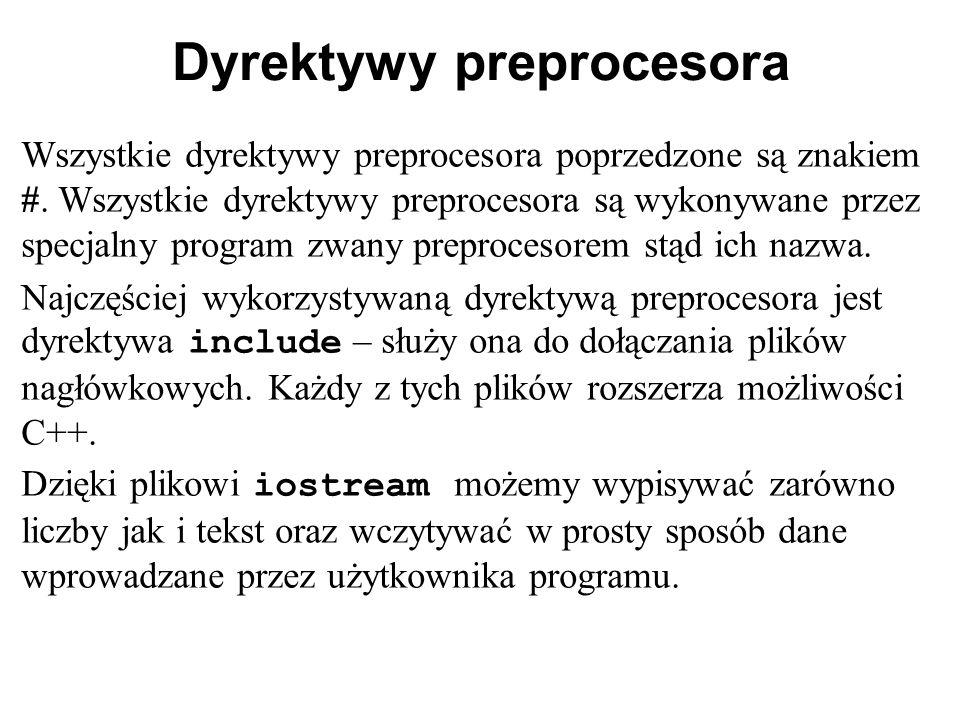 Dyrektywy preprocesora Wszystkie dyrektywy preprocesora poprzedzone są znakiem #. Wszystkie dyrektywy preprocesora są wykonywane przez specjalny progr
