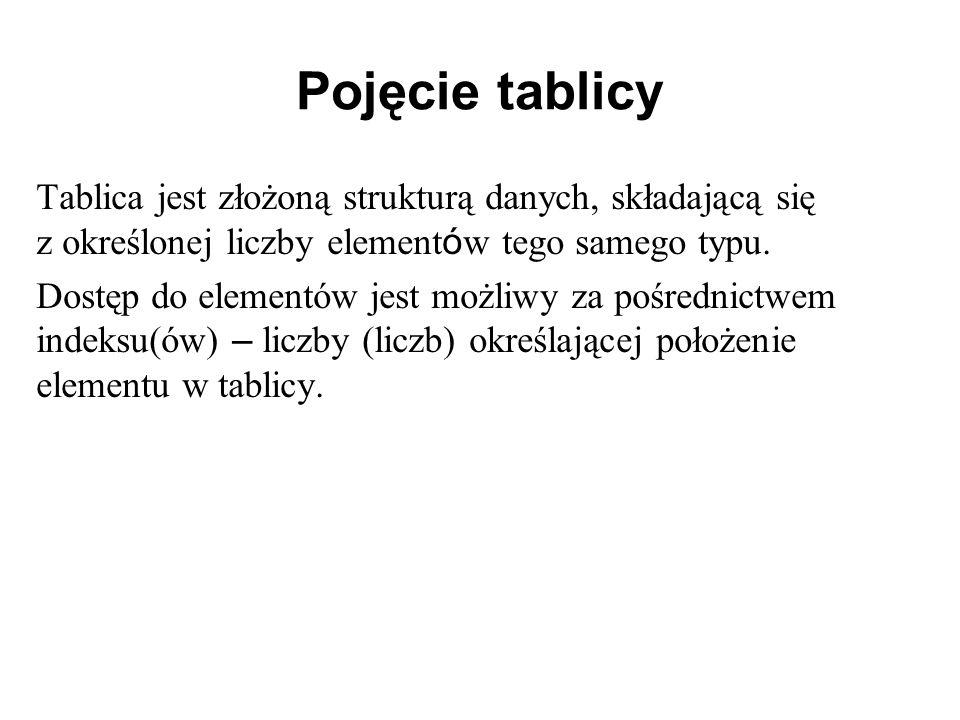 Pojęcie tablicy Tablica jest złożoną strukturą danych, składającą się z określonej liczby element ó w tego samego typu. Dostęp do elementów jest możli