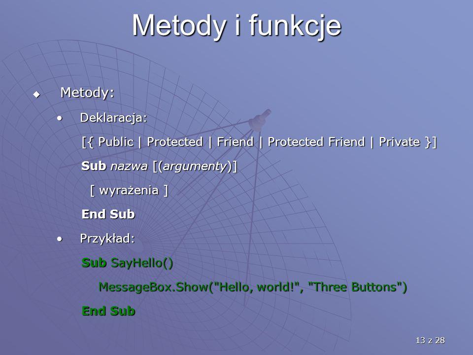 13 z 28 Metody i funkcje  Metody: Deklaracja:Deklaracja: [{ Public | Protected | Friend | Protected Friend | Private }] [{ Public | Protected | Friend | Protected Friend | Private }] Sub nazwa [(argumenty)] Sub nazwa [(argumenty)] [ wyrażenia ] [ wyrażenia ] End Sub End Sub Przykład:Przykład: Sub SayHello() Sub SayHello() MessageBox.Show( Hello, world! , Three Buttons ) MessageBox.Show( Hello, world! , Three Buttons ) End Sub End Sub