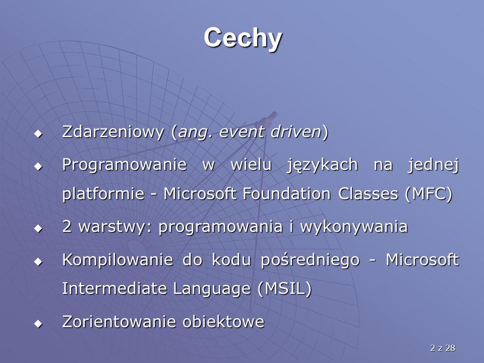 2 z 28 Cechy  Zdarzeniowy (ang. event driven)  Programowanie w wielu językach na jednej platformie - Microsoft Foundation Classes (MFC)  2 warstwy: