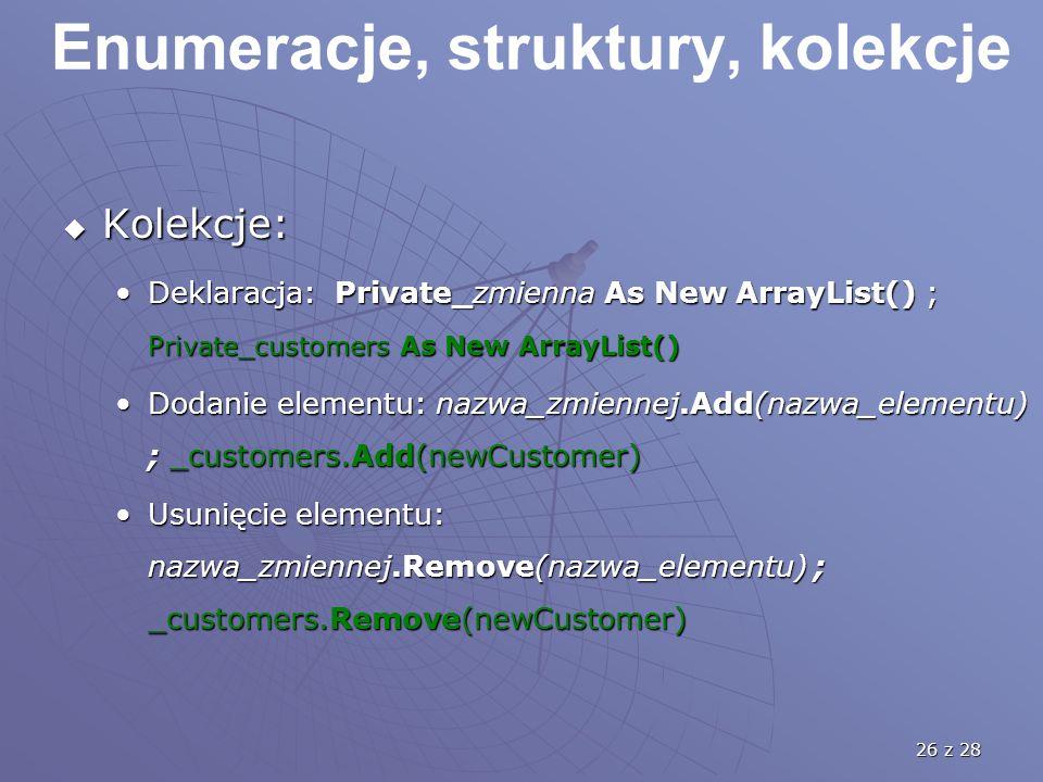 26 z 28 Enumeracje, struktury, kolekcje  Kolekcje: Deklaracja: Private_zmienna As New ArrayList() ; Private_customers As New ArrayList()Deklaracja: Private_zmienna As New ArrayList() ; Private_customers As New ArrayList() Dodanie elementu: nazwa_zmiennej.Add(nazwa_elementu) ; _customers.Add(newCustomer)Dodanie elementu: nazwa_zmiennej.Add(nazwa_elementu) ; _customers.Add(newCustomer) Usunięcie elementu: nazwa_zmiennej.Remove(nazwa_elementu) ; _customers.Remove(newCustomer)Usunięcie elementu: nazwa_zmiennej.Remove(nazwa_elementu) ; _customers.Remove(newCustomer)
