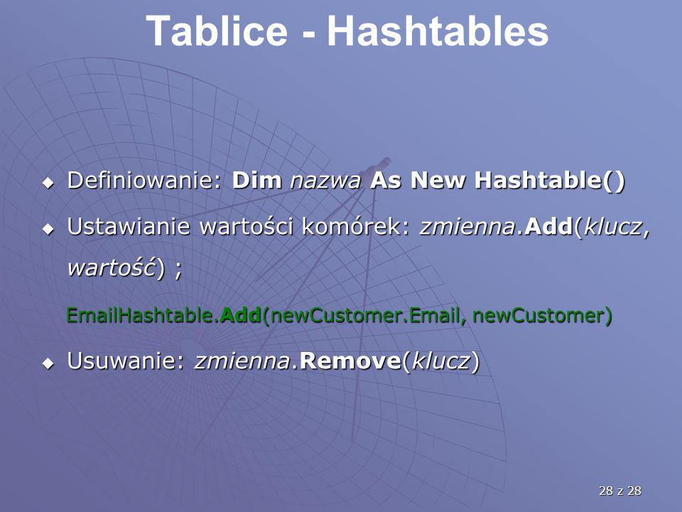 28 z 28 Tablice - Hashtables  Definiowanie: Dim nazwa As New Hashtable()  Ustawianie wartości komórek: zmienna.Add(klucz, wartość) ; EmailHashtable.Add(newCustomer.Email, newCustomer) EmailHashtable.Add(newCustomer.Email, newCustomer)  Usuwanie: zmienna.Remove(klucz)