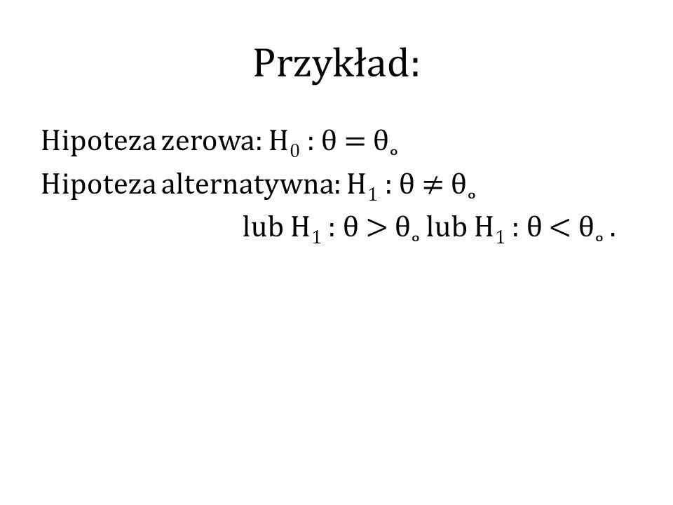 Przykład: Hipoteza zerowa: H 0 : θ = θ˳ Hipoteza alternatywna: H 1 : θ ≠ θ˳ lub H 1 : θ > θ˳ lub H 1 : θ < θ˳.