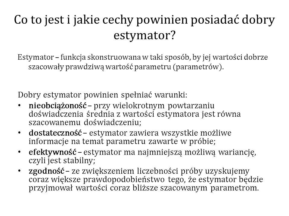 Co to jest i jakie cechy powinien posiadać dobry estymator? Estymator – funkcja skonstruowana w taki sposób, by jej wartości dobrze szacowały prawdziw