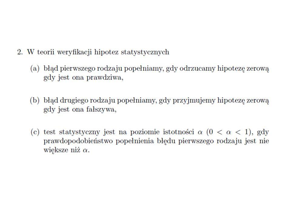 """Zamiast szacować nieznaną wartość parametru (estymacja), będziemy weryfikowali hipotezę mówiącą, że jego """"prawdziwa wartość nie różni się istotnie od zadanej wartości, co zapisujemy: θ = θ˳, gdzie θ˳ jest ustalone."""
