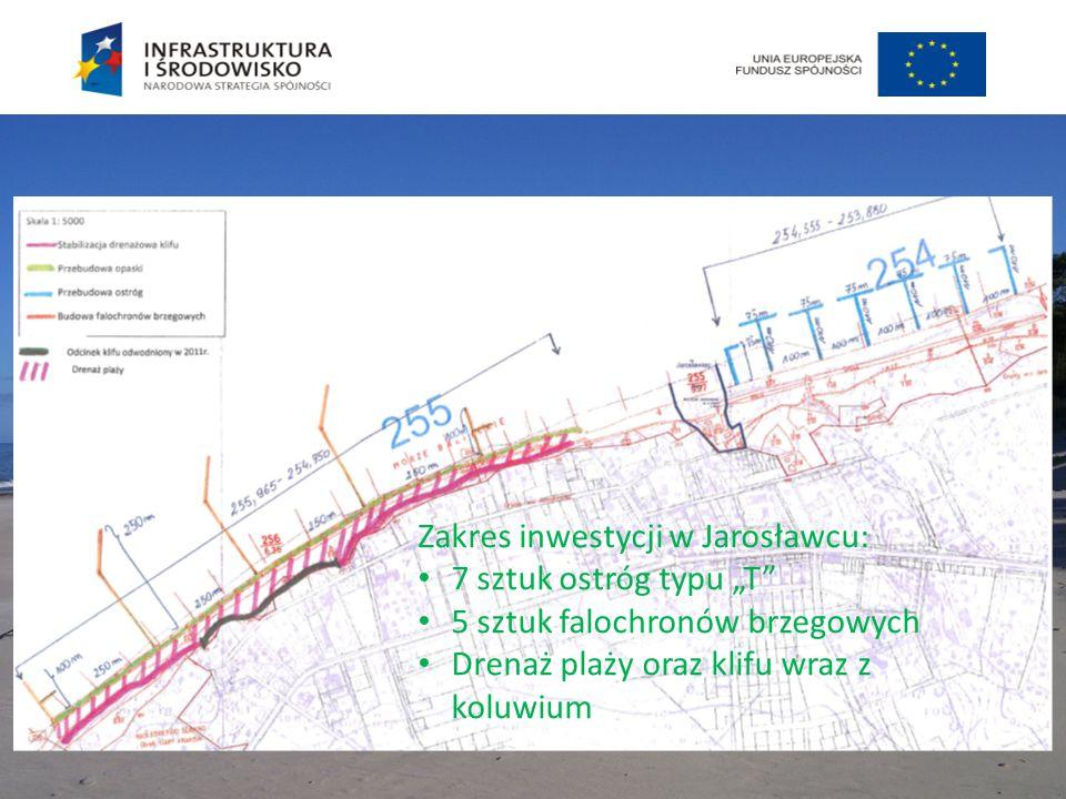 """Zakres inwestycji w Jarosławcu: 7 sztuk ostróg typu """"T"""" 5 sztuk falochronów brzegowych Drenaż plaży oraz klifu wraz z koluwium"""