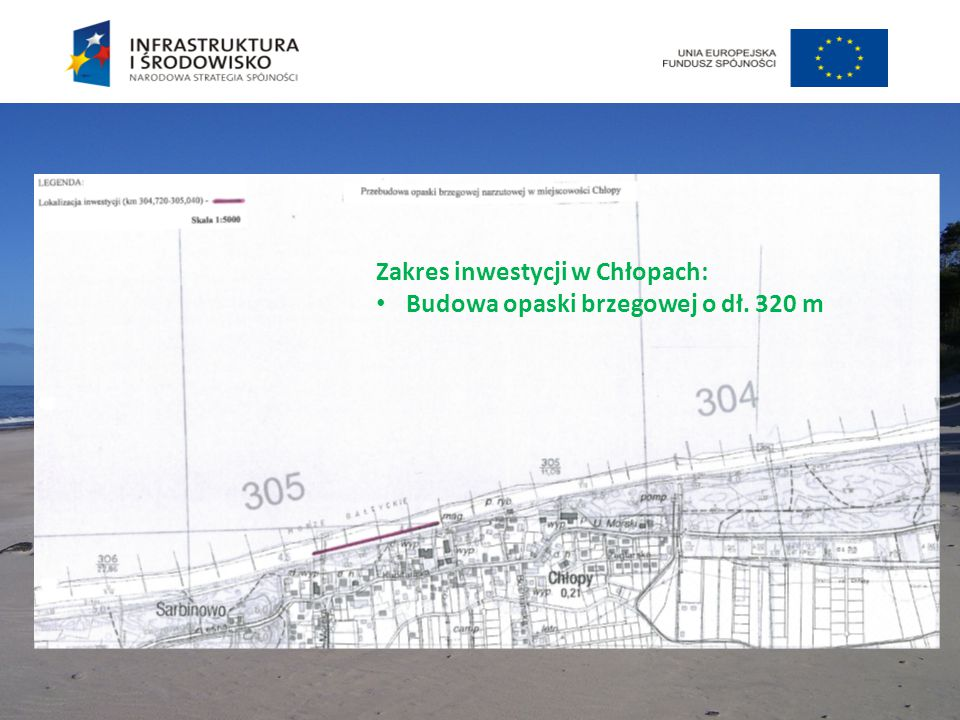 Zakres inwestycji w Chłopach: Budowa opaski brzegowej o dł. 320 m