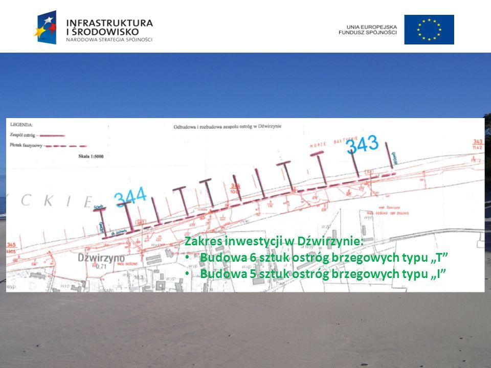 """Zakres inwestycji w Dźwirzynie: Budowa 6 sztuk ostróg brzegowych typu """"T"""" Budowa 5 sztuk ostróg brzegowych typu """"I"""""""