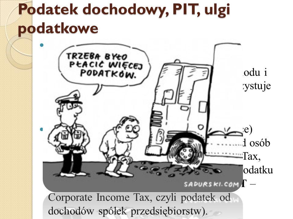 Podatek dochodowy, PIT, ulgi podatkowe Podatek dochodowy- obowiązkowe świadczenie osoby fizycznej lub osoby prawnej na rzecz państwa, zależne od dochodu i wykorzystanych odliczeń.