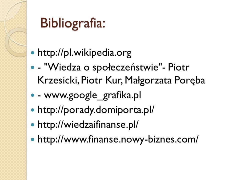 Bibliografia: http://pl.wikipedia.org - Wiedza o społeczeństwie - Piotr Krzesicki, Piotr Kur, Małgorzata Poręba - www.google_grafika.pl http://porady.domiporta.pl/ http://wiedzaifinanse.pl/ http://www.finanse.nowy-biznes.com/