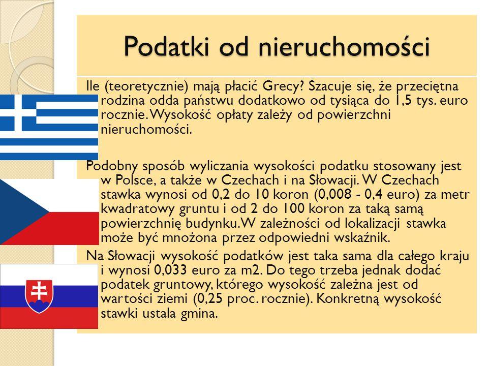Podatki od nieruchomości Ile (teoretycznie) mają płacić Grecy.