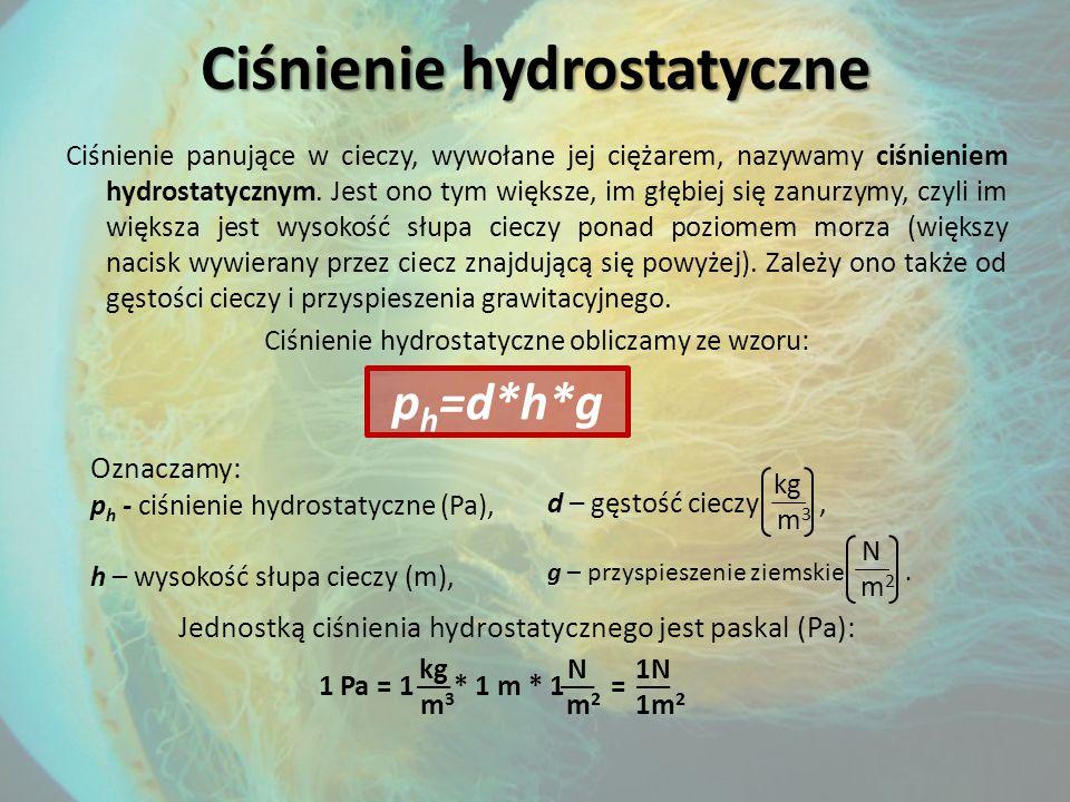Ciśnienie hydrostatyczne Ciśnienie panujące w cieczy, wywołane jej ciężarem, nazywamy ciśnieniem hydrostatycznym.