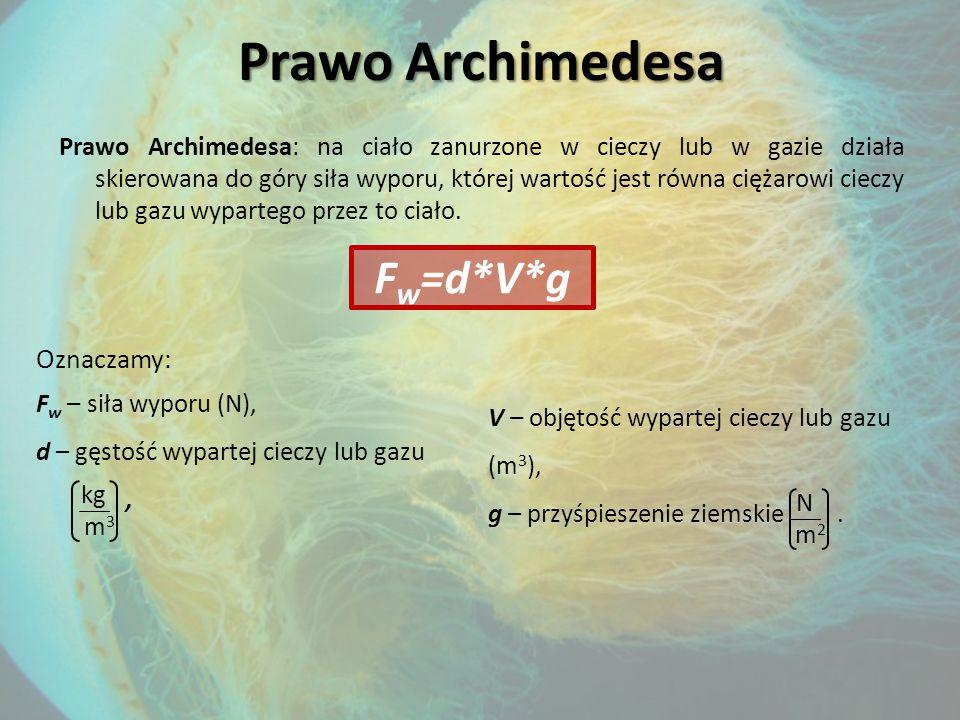 Prawo Archimedesa Prawo Archimedesa: na ciało zanurzone w cieczy lub w gazie działa skierowana do góry siła wyporu, której wartość jest równa ciężarowi cieczy lub gazu wypartego przez to ciało.