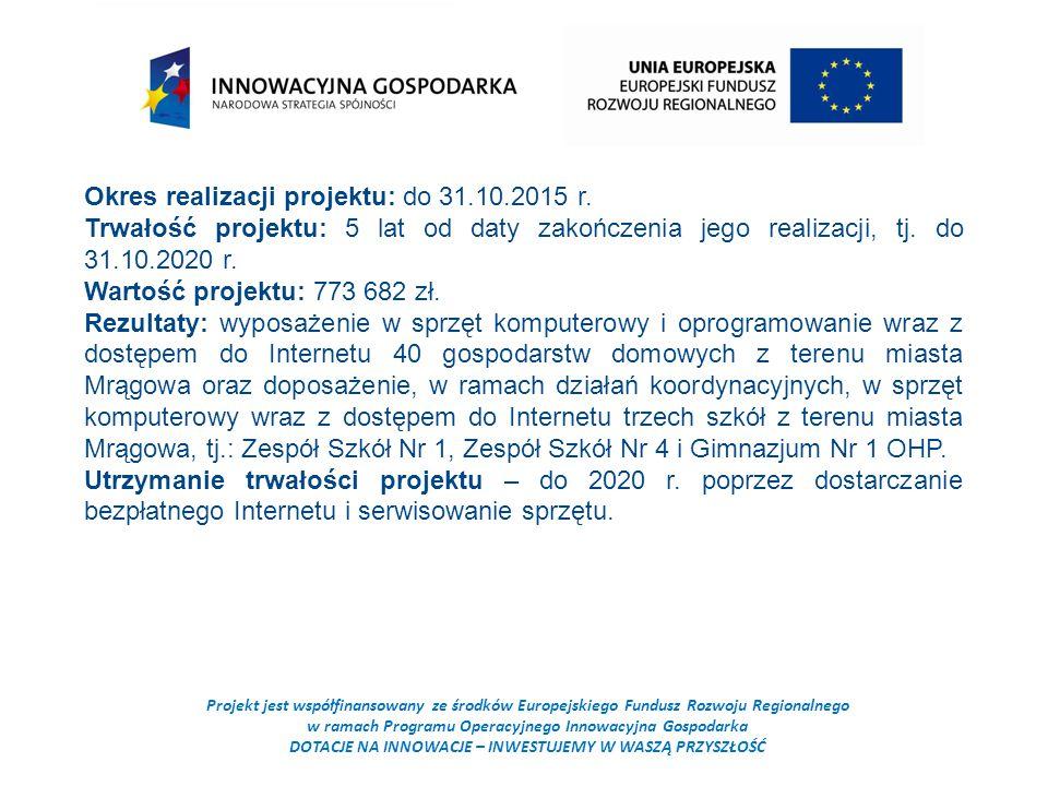 Projekt jest współfinansowany ze środków Europejskiego Fundusz Rozwoju Regionalnego w ramach Programu Operacyjnego Innowacyjna Gospodarka DOTACJE NA INNOWACJE – INWESTUJEMY W WASZĄ PRZYSZŁOŚĆ Okres realizacji projektu: do 31.10.2015 r.