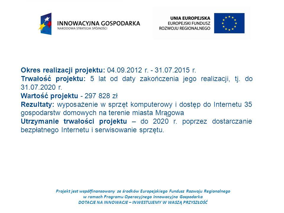 Projekt jest współfinansowany ze środków Europejskiego Fundusz Rozwoju Regionalnego w ramach Programu Operacyjnego Innowacyjna Gospodarka DOTACJE NA INNOWACJE – INWESTUJEMY W WASZĄ PRZYSZŁOŚĆ Okres realizacji projektu: 04.09.2012 r.
