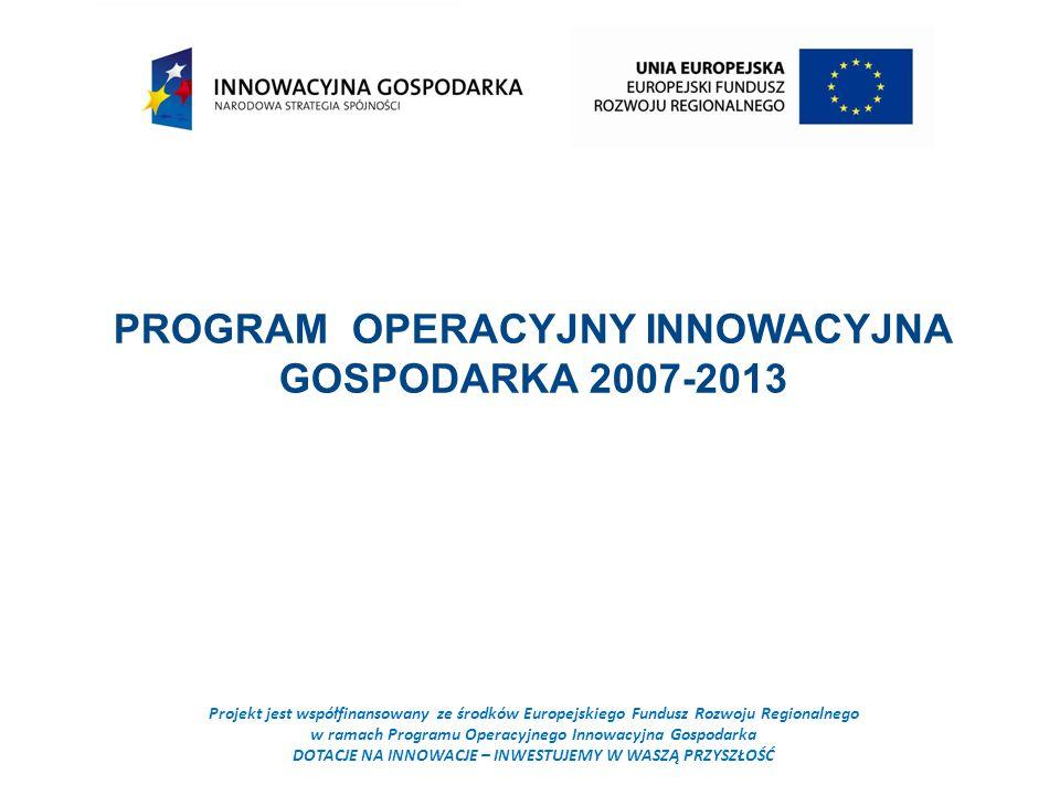 Projekt jest współfinansowany ze środków Europejskiego Fundusz Rozwoju Regionalnego w ramach Programu Operacyjnego Innowacyjna Gospodarka DOTACJE NA INNOWACJE – INWESTUJEMY W WASZĄ PRZYSZŁOŚĆ PROGRAM OPERACYJNY INNOWACYJNA GOSPODARKA 2007-2013