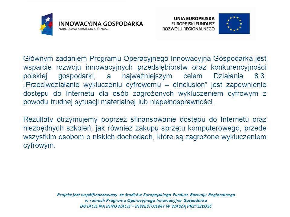Projekt jest współfinansowany ze środków Europejskiego Fundusz Rozwoju Regionalnego w ramach Programu Operacyjnego Innowacyjna Gospodarka DOTACJE NA INNOWACJE – INWESTUJEMY W WASZĄ PRZYSZŁOŚĆ Głównym zadaniem Programu Operacyjnego Innowacyjna Gospodarka jest wsparcie rozwoju innowacyjnych przedsiębiorstw oraz konkurencyjności polskiej gospodarki, a najważniejszym celem Działania 8.3.