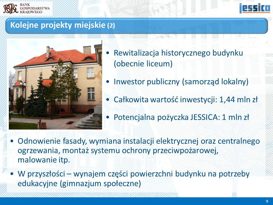 Rewitalizacja historycznego budynku (obecnie liceum) Inwestor publiczny (samorząd lokalny) Całkowita wartość inwestycji: 1,44 mln zł Potencjalna pożyc
