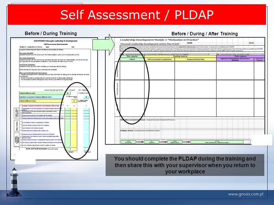 Self Assessment / PLDAP Before / During Training Before / During / After Training You should complete the PLDAP during the training and then share thi
