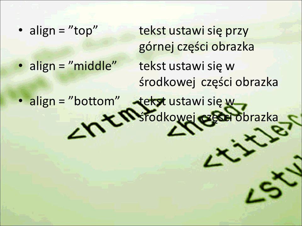 align = top tekst ustawi się przy górnej części obrazka align = middle tekst ustawi się w środkowej części obrazka align = bottom tekst ustawi się w środkowej części obrazka