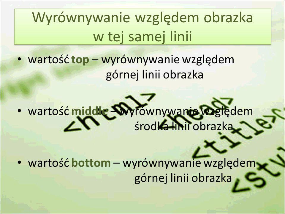 Wyrównywanie względem obrazka w tej samej linii wartość top – wyrównywanie względem górnej linii obrazka wartość middle – wyrównywanie względem środka linii obrazka wartość bottom – wyrównywanie względem górnej linii obrazka