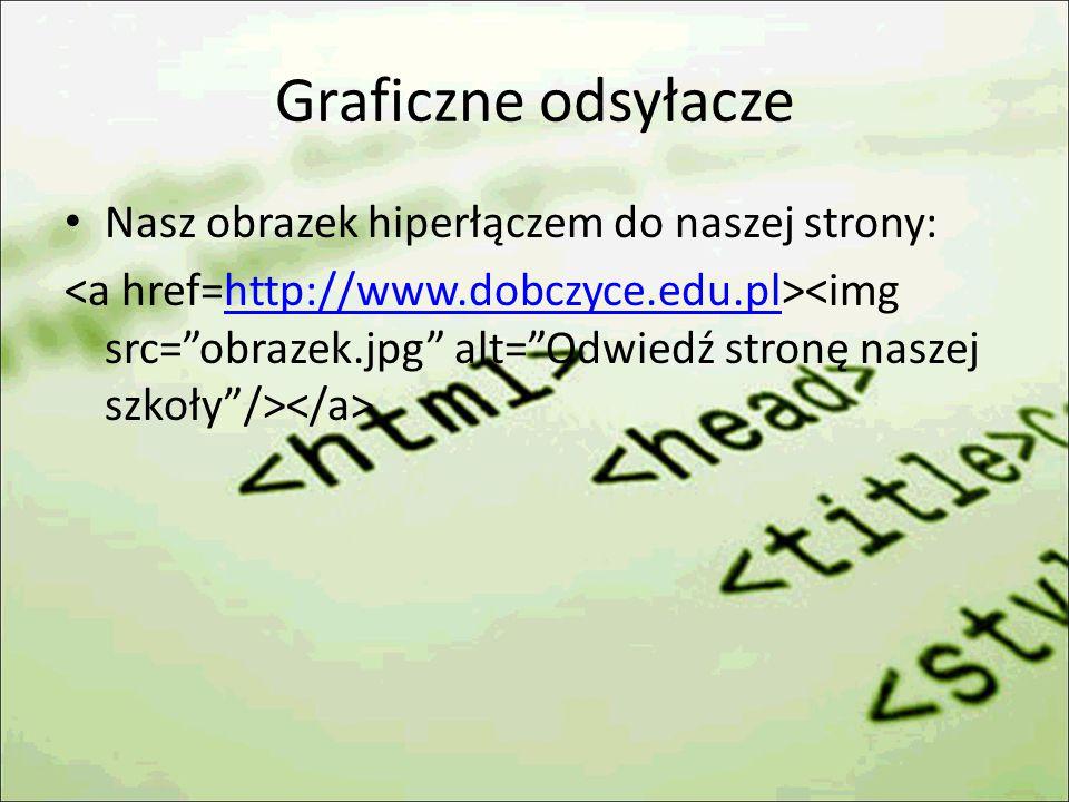 Graficzne odsyłacze Nasz obrazek hiperłączem do naszej strony: http://www.dobczyce.edu.pl