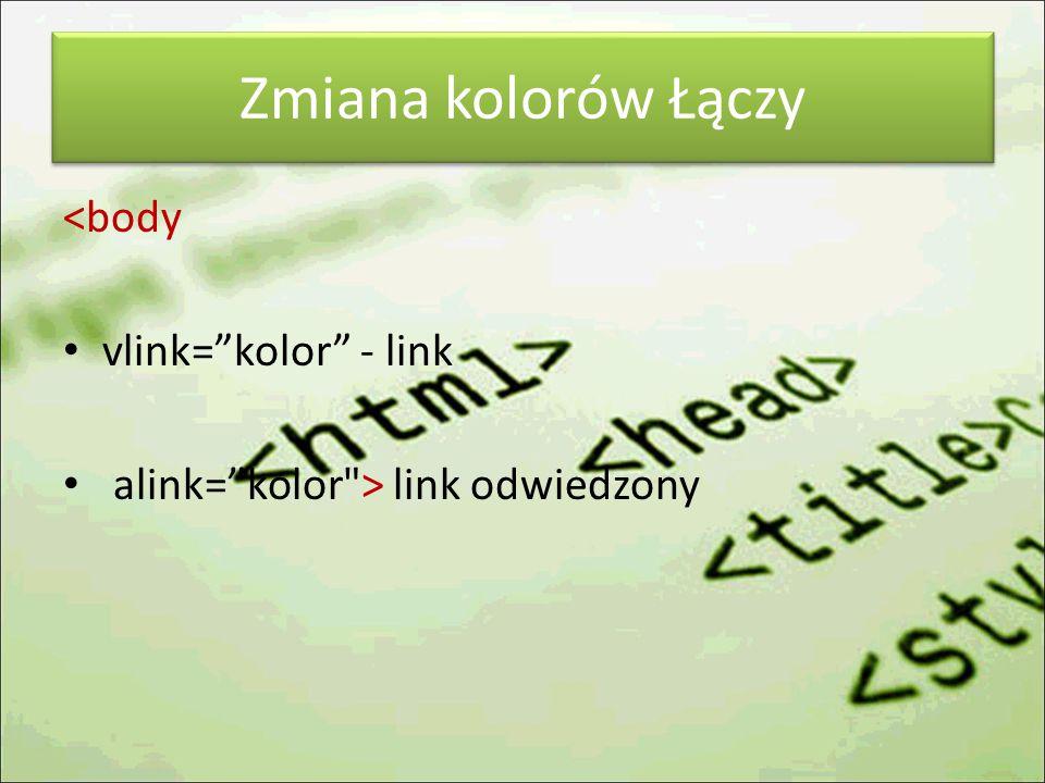 Zmiana kolorów Łączy <body vlink= kolor - link alink= kolor > link odwiedzony